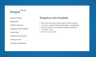 Drupal versión 8.6.10. Ya está actualizado