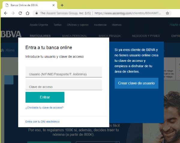Solicitud de credenciales de acceso de la página fraudulenta.