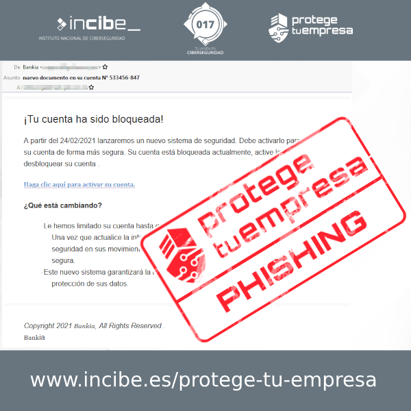 Bankia correo con sello phishing