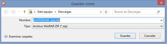 Pantalla descarga zip con malware