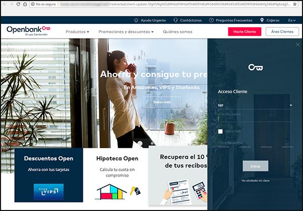 Página fraudulenta de Openbank.