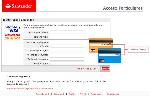 Página web fraudulenta que solicita información de la tarjeta de crédito