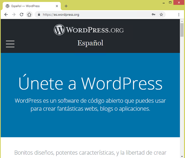Página web legítima de WordPress