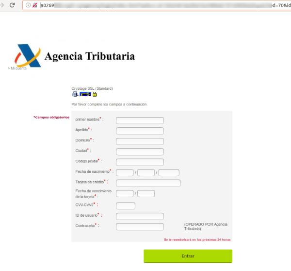 sitio web fraudulento