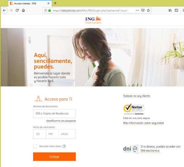 Página web que suplanta a la de ING con un formulario de donde solicita documento de identificación y fecha de nacimiento