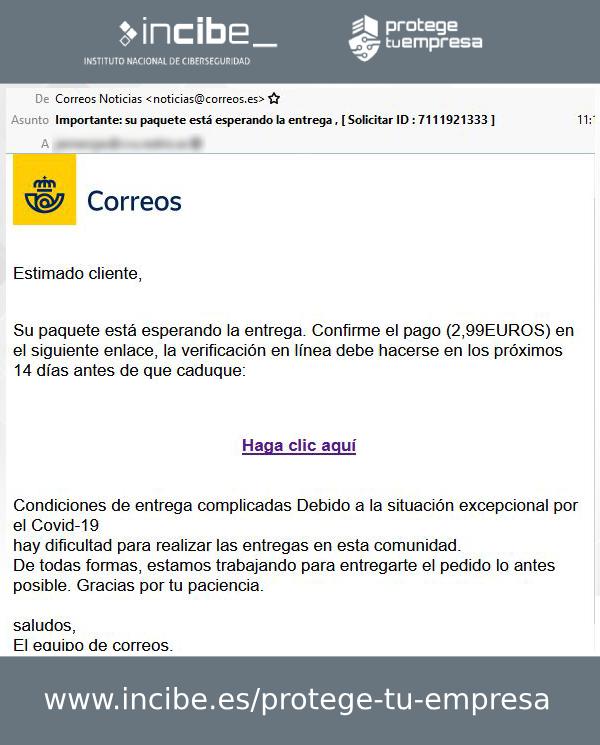 Segundo correo electrónico suplantando a Correos
