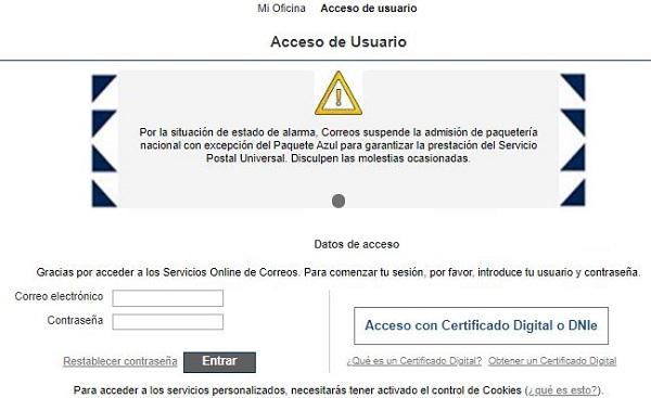 Página web de tipo phishing que suplanta a Correos.
