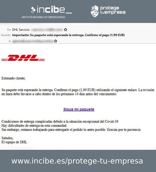 Correo electrónico fraudulento de tipo phishing a DHL