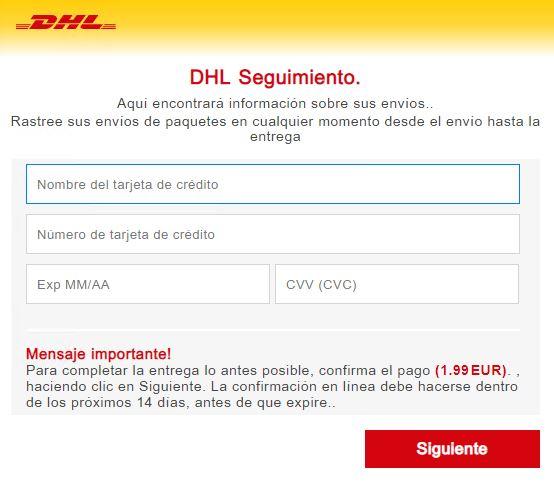 Página web fraudulenta que suplanta a DHL y solicita datos bancarios