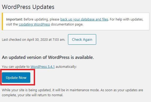 Actualizar WordPress ya
