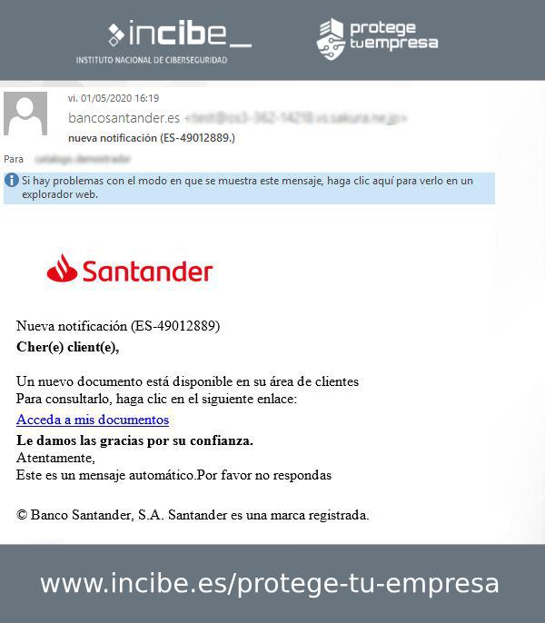 Correo phishing al Santander