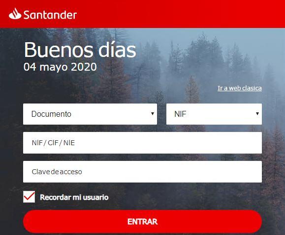 Loging de la web fraudulenta del Santander