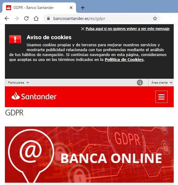 Página web legítima del Banco Santander
