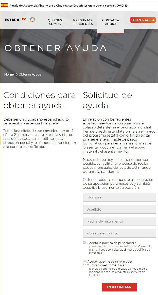 Página web fraudulenta solicitando datos personales
