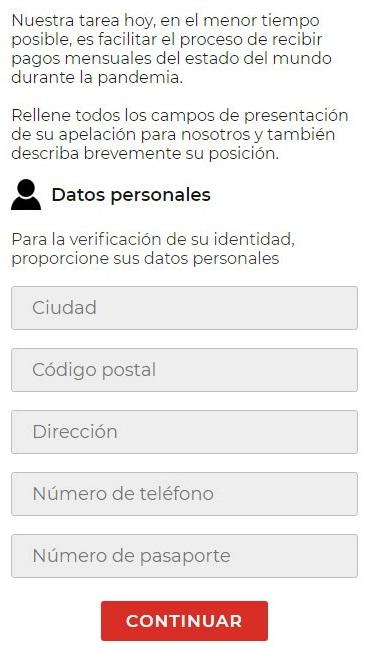 Página web fraudulenta solicitando datos personalesa