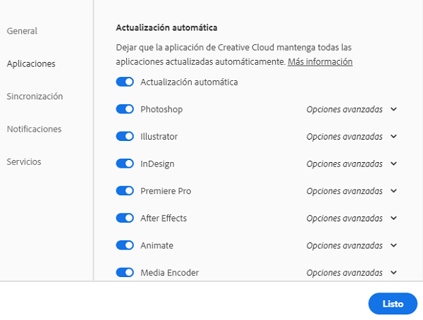 Preferencias, general, actualización automática