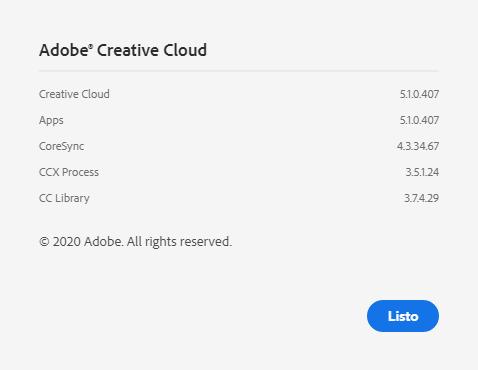 Versión de Adobe Creative Cloud