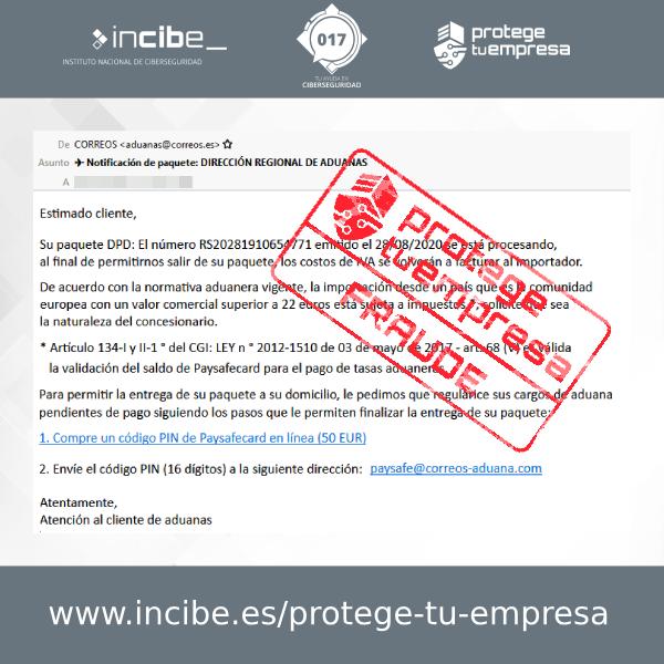 Aviso de seguridad 01/09/2020 - Campaña fraude aduanas Correos