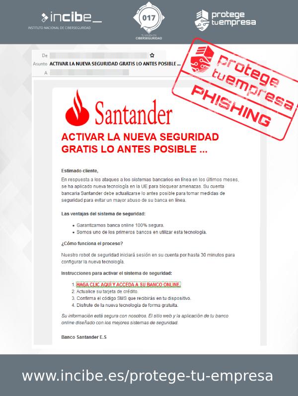 Aviso de seguridad 28/09/2020 - Correo phishing Banco Santander