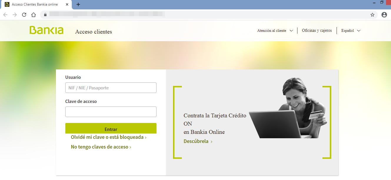 Aviso de seguridad 28/09/2020 - Página web fraudulenta Bankia