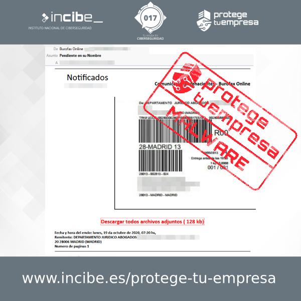 Correo malicioso simulando un falso burofax asunto Pendiente en su nombre - 20/10/2020