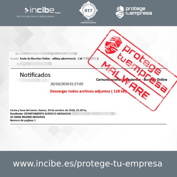 Correo malicioso simulando un falso burofax asunto Envio de Burofax Online Ultima Advertencia- 20/10/2020