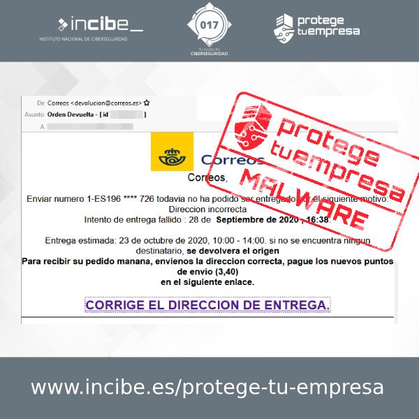 Aviso 22/10/2020 - Correo electrónico malware Correos