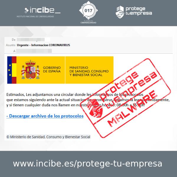 Aviso 26/10/2020 - Correo electrónico malware Ministerio de Sanidad