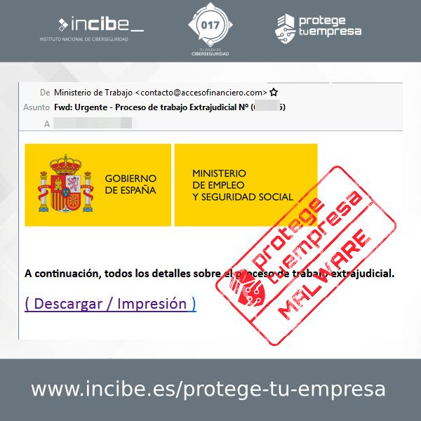 Aviso 27/10/2020 - Correo electrónico malware Ministerio Trabajo