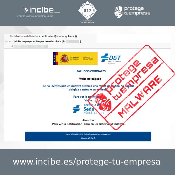 Aviso 13/11/2020 - Correo electrónico malware DGT