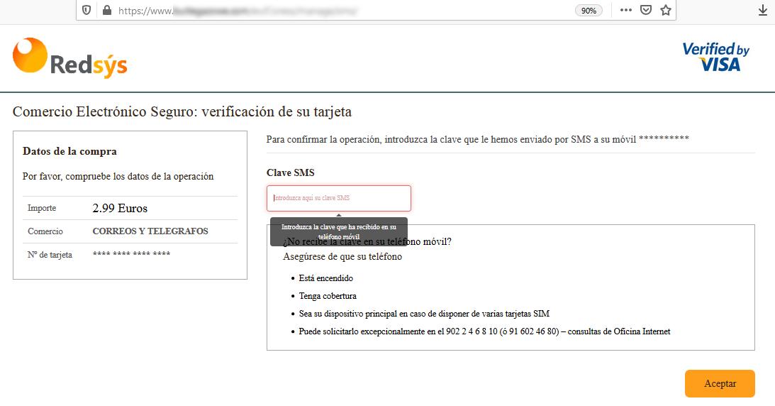 Aviso de seguridad 14/09/2020 - Introducir código SMS correos