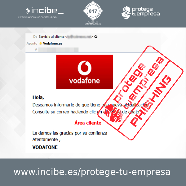Aviso de seguridad 30/11/2020 - Correo Phishing Vodafone