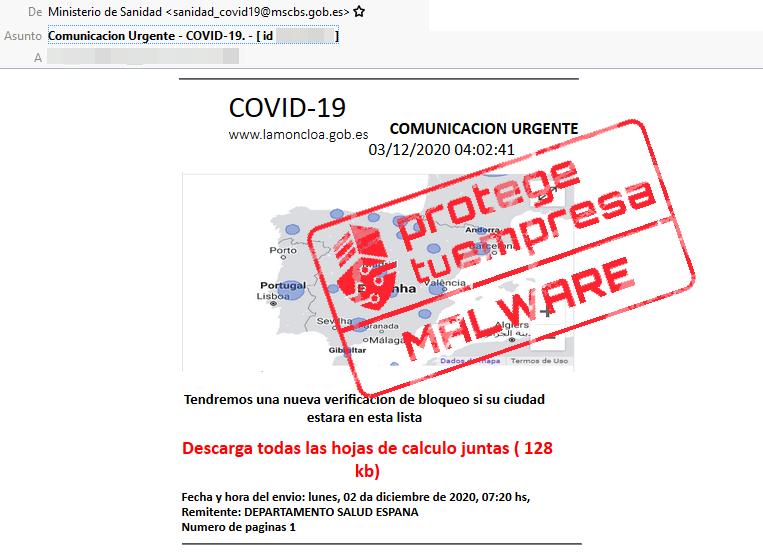 Correo malicioso suplantando al Ministerio de Sanidad con intención de distribuir malware