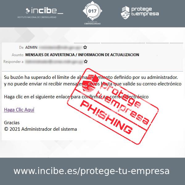 Correo malicioso tipo phishing cuyo objetivo es robar credenciales de acceso