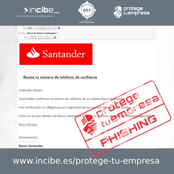 Versión alternativa del correo de phishing