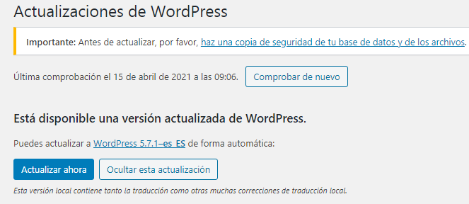 Actualizar WordPress 5.4.2