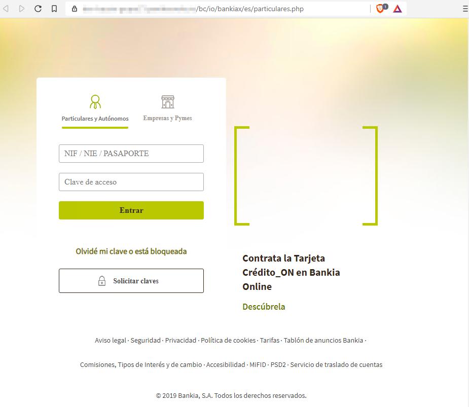 Página web fraudulenta suplantando a Bankia