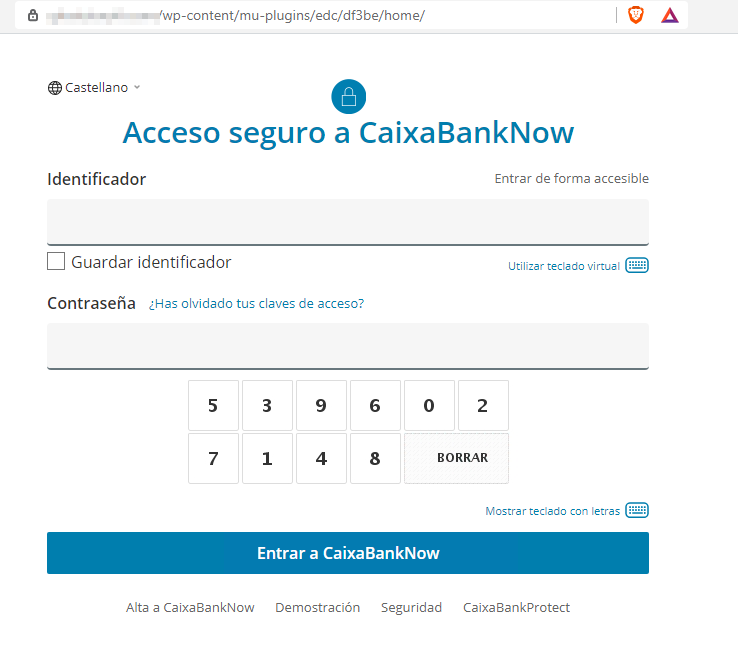Página web fraudulenta suplantando a Caixabank