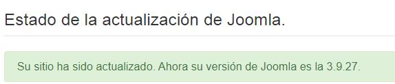 Imagen que muestra que la actualización de Joomla! se ha realizado correctamente.