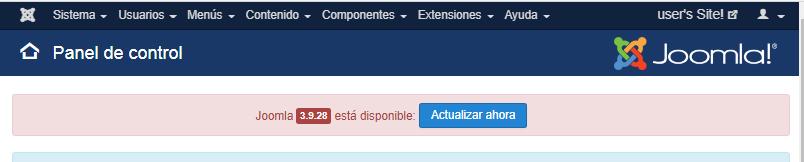 Imagen que muestra la actualización disponible de Joomla! que en este caso es la 3.9.25