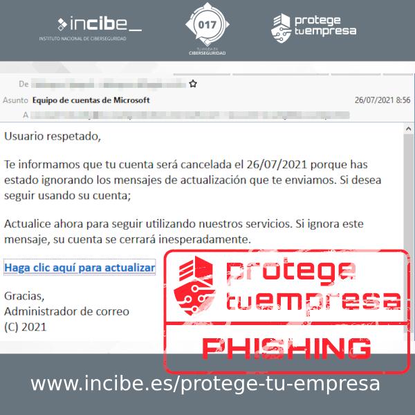 Correo de phishing suplantando a Microsoft