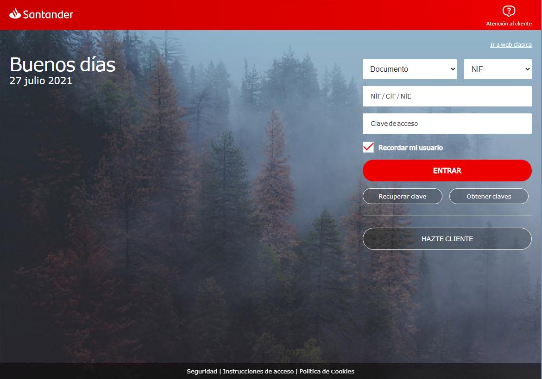 web spoofing Santander