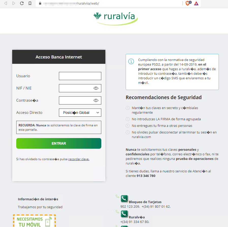 Web maliciosa suplantando a Caja Rural