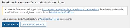 Actualizar WordPress 5.8.1