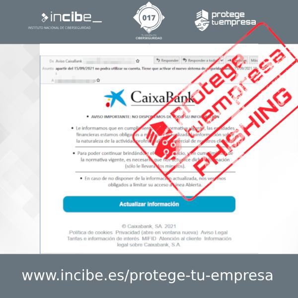 Campaña de phishing suplantando a tu banco