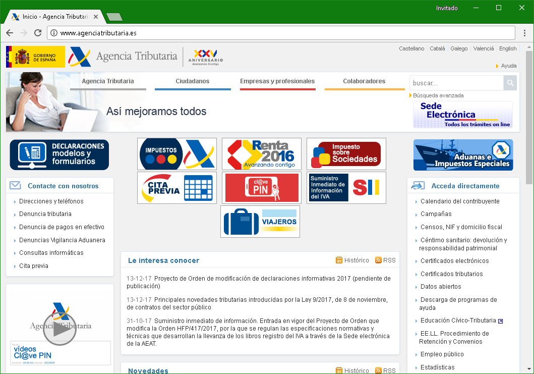 Página web legítima de la Agencia Tributaruia