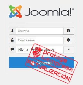 Imagen que muestra el inicio de sesión de Joomla!