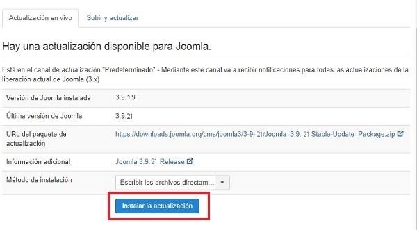 Imagen que muestra información sobre la versión actual de Joomla! y la nueva disponible del gestor de contenidos.