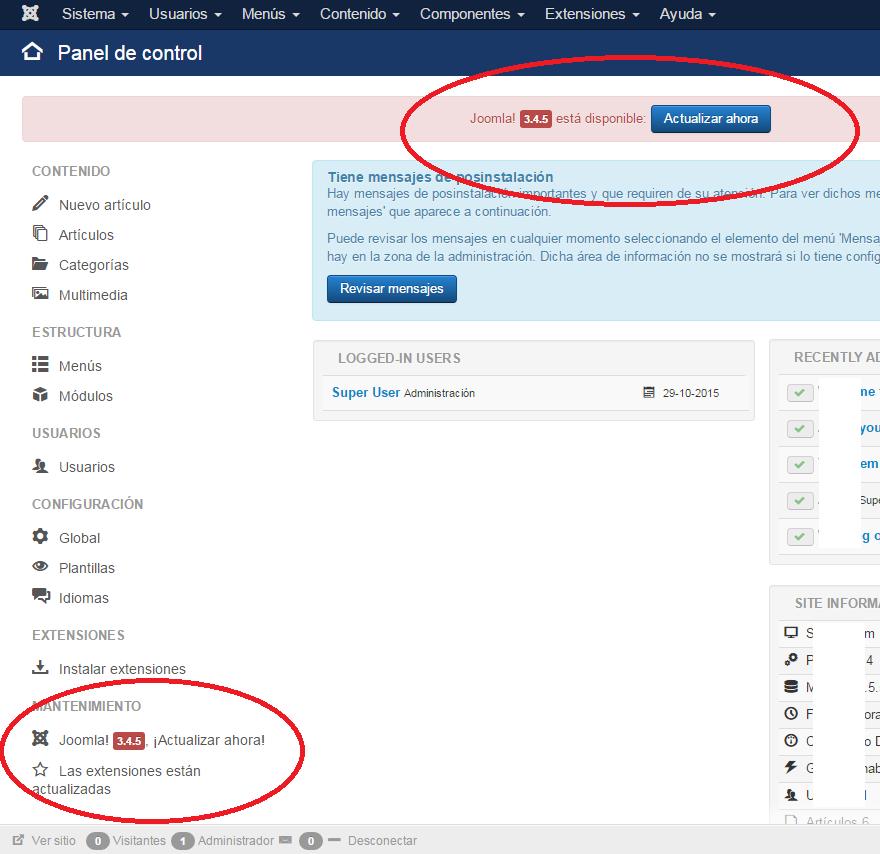 Joomla!: Panel de control: Aviso de notificación de nueva versión disponible
