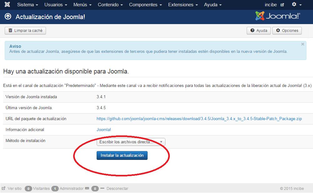 Joomla!: Actualización de Joomla!: Pulsar botón instalar actualización